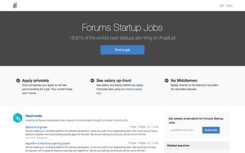 Forums Startup Jobs - AngelList