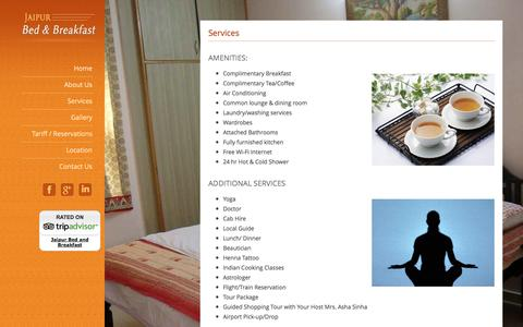 Screenshot of Services Page jaipurbedandbreakfast.com - Home Stay in Jaipur India | Family Accommodation Hospitality - captured Oct. 6, 2014