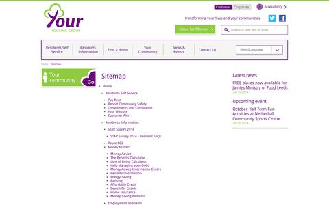 Screenshot of Site Map Page yourhousinggroup.co.uk - Sitemap | Your Housing Group - captured Oct. 27, 2014