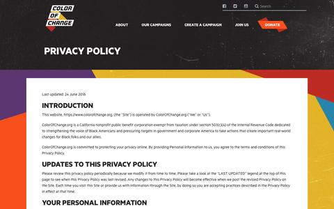 Screenshot of Privacy Page colorofchange.org - Color Of Change | Privacy Policy - captured May 19, 2017