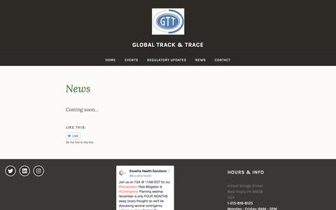 Screenshot of Press Page globaltrackandtrace.org - News – Global Track & Trace - captured July 20, 2018