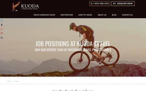 Screenshot of Jobs Page kuodatravel.com - Career Positions - Luxury Travel to South America | Kuoda Travel - captured Dec. 27, 2017