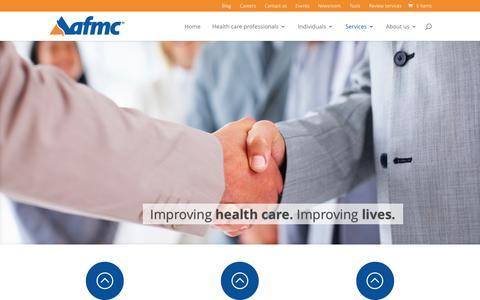 Screenshot of Services Page afmc.org - Services - AFMC - captured Nov. 21, 2016
