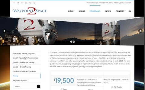 Screenshot of Pricing Page waypoint2space.com - Pricing - Waypoint 2 Space - captured Sept. 20, 2018