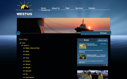 Screenshot of Site Map Page westug.com - Site Map -Westug Management- safe, reliable and quality managed marine towage operations in Western Australia - captured Oct. 26, 2014