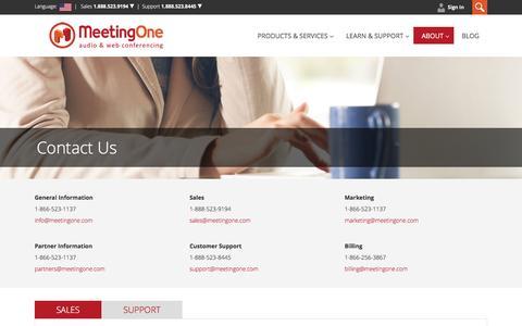 Screenshot of Contact Page meetingone.com - Contact MeetingOne - captured Jan. 10, 2016