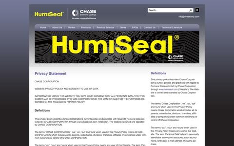Screenshot of Privacy Page humiseal.com - Privacy Statement | HumiSeal® - captured Oct. 1, 2014