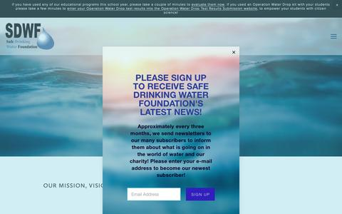 Screenshot of About Page safewater.org - Mission, Vision and Goals — Safe Drinking Water Foundation - captured Oct. 1, 2018