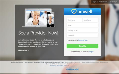 Screenshot of Signup Page amwell.com - Amwell – Consult a Doctor, Therapist or Nutritionist Online - captured July 14, 2019