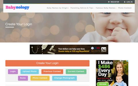 Screenshot of Signup Page babynology.com - Sign Up - Baby Photo Contest - captured Jan. 31, 2016