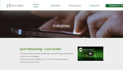 Screenshot of Case Studies Page xyvid.com - Xyvid Webcasting Case Studies - Success in Multiple Verticals - captured Oct. 19, 2018