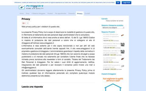 Screenshot of Privacy Page arieggiare.it - Privacy | ArieggiareArieggiare - captured Dec. 26, 2015