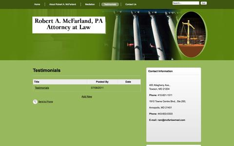 Screenshot of Testimonials Page mcfarlawmed.com - Testimonials for Robert A McFarland Attorney at Law Civil and Domestic Mediator - Testimonials - captured Oct. 6, 2014