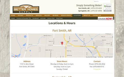 Screenshot of Locations Page Maps & Directions Page betterhomessupply.com - Locations & Hours-2 Locations-AR - Better Homes Supply - captured Jan. 2, 2016