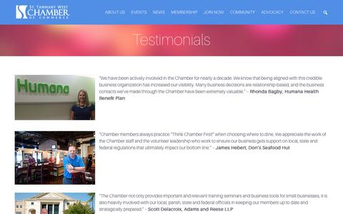 Screenshot of Testimonials Page sttammanychamber.org - Testimonials | St. Tammany Chamber of Commerce - captured Dec. 6, 2016
