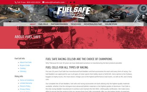 Screenshot of About Page fuelsafe.com - About Fuel Safe Racing Fuel Cells - captured March 12, 2016