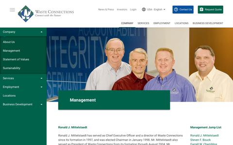 Screenshot of Team Page wasteconnections.com - Management | Waste Connections - captured Feb. 3, 2018