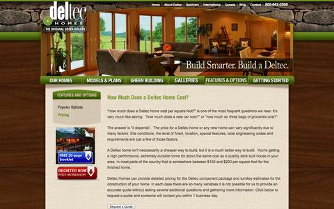 Screenshot of Pricing Page deltechomes.com - Deltec Pricing | Prefab Round Homes | Panelized Building System | Home Kit |  Deltec Homes - captured Oct. 31, 2014