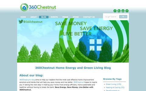 Screenshot of Blog 360chestnut.com - Home Energy Efficiency Blog   Save Money At Home - captured Sept. 24, 2014