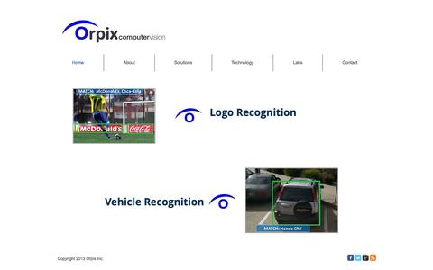 Screenshot of Home Page orpix-inc.com - Orpix Inc - Image Recognition Solutions - captured Sept. 30, 2014
