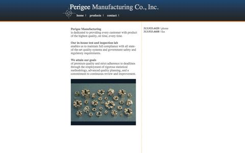 Screenshot of Home Page perigeemfg.com - Perigee Manufacturing Co., Inc. | Manufacturers of hexagon nuts, milled from bar - captured Oct. 2, 2014