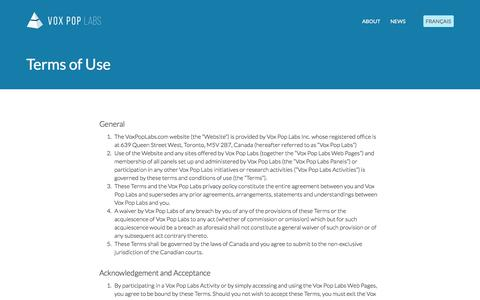 Screenshot of Terms Page voxpoplabs.com - Terms of Use    Vox Pop Labs - captured Dec. 5, 2019