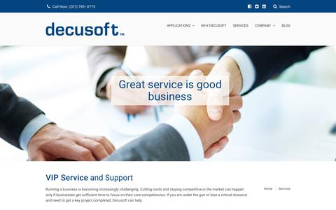 Screenshot of Services Page decusoft.com - Services - Decusoft - captured Jan. 7, 2016