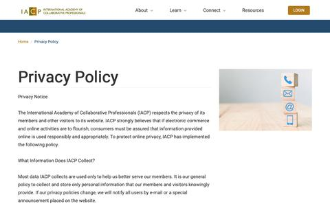 Screenshot of Privacy Page collaborativepractice.com - Privacy Policy | IACP - captured Oct. 12, 2018
