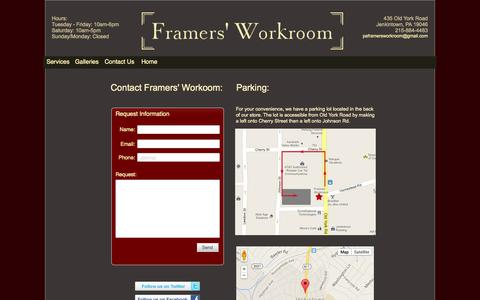 Screenshot of Contact Page Maps & Directions Page framersworkroom.com - Framers' Workroom Jenkintown Framing and Design Specialists - captured Oct. 25, 2014