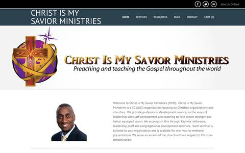 Screenshot of Home Page christismysaviorministries.org - Christ Is My Savior Ministries - Home - captured Sept. 28, 2018