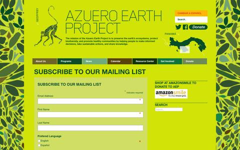 Screenshot of Signup Page azueroearthproject.org - Azuero Earth Project | Subscribe To Our Mailing List - Azuero Earth Project - captured Dec. 28, 2015