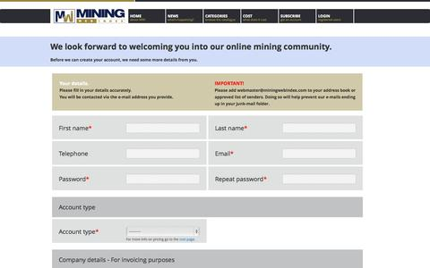 Screenshot of Signup Page miningwebindex.com - Mining Web Index - captured Oct. 29, 2014