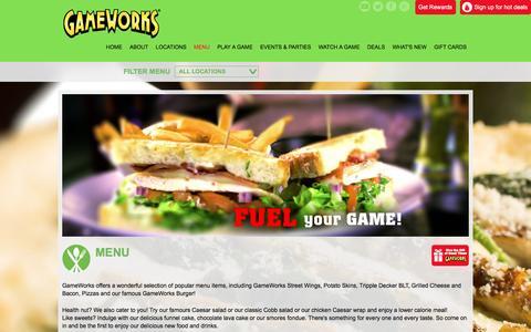 Screenshot of Menu Page gameworks.com - GameWorks Eat, Drink, Play - captured July 11, 2016