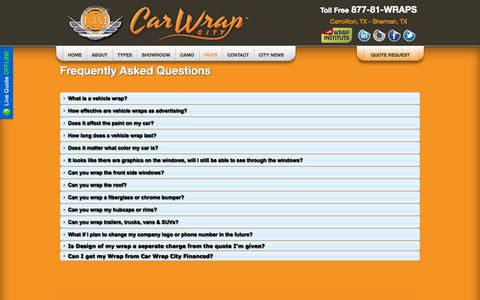 Screenshot of FAQ Page carwrapcity.com - Car Wrap City - Vehicle Wraps of Dallas Addison Carrollton Arlington Fort Worth Allen Sherman Denison Plano McKinney  Ardmore  Durant North Texas Oklahoma - car auto truck trailer boat bus vehicle wraps and custom graphics,clear wraps paint protectio - captured Sept. 30, 2014