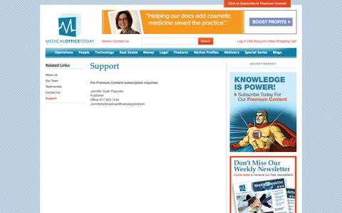 Screenshot of Support Page medicalofficetoday.com - Support - captured Oct. 4, 2014
