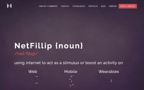 Screenshot of Home Page netfillip.com - NetFillip | Web, Mobile, E-Commerce, Database, Cloud, Wearables Products and Services - captured Feb. 14, 2016