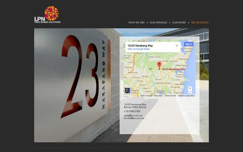 Screenshot of Contact Page lpn.com.au - LPN Free Range Solutions - Get In Touch - captured Sept. 26, 2014