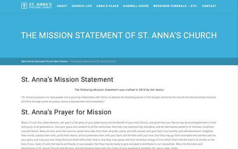 Screenshot of About Page stannanola.org - The Mission Statement of St. Anna's Church – Saint Anna's Episcopal Church New Orleans - captured Oct. 18, 2018