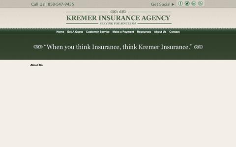 Screenshot of About Page kremerins.com - About Us - captured April 15, 2016