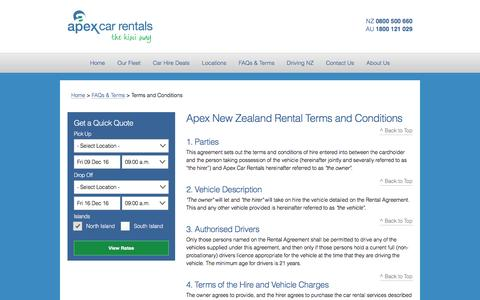 Rental Terms & Conditions - Apex Car Rentals New Zealand