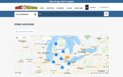 Screenshot of Locations Page abcwarehouse.com - Store Locator ABC Warehouse - captured July 28, 2018