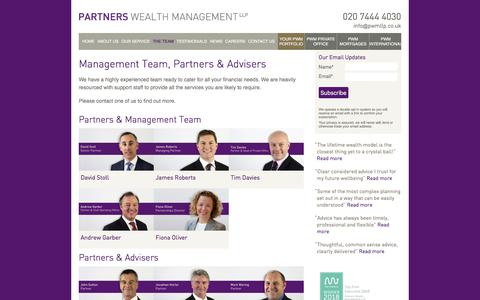 Screenshot of Team Page partnerswealthmanagement.co.uk - Management Team, Partners & Advisers | Partners Wealth Management - captured July 16, 2018