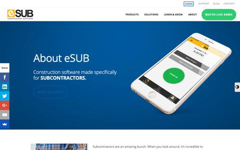 Screenshot of About Page esub.com - Subcontractor Management Software - eSUB - captured April 12, 2019