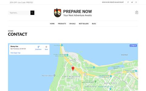 Screenshot of Contact Page prepare-now.com - Contact - Prepare Now - captured June 30, 2018