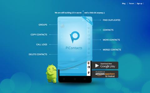 Screenshot of Home Page picontacts.com - Android Contact Manager App to Find Copy Merge Duplicate Contacts - captured Sept. 29, 2014
