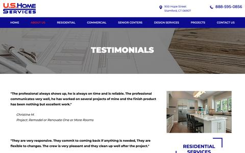 Screenshot of Testimonials Page ushomeservicesllc.com - Testimonials - U.S. Home Services - captured Nov. 5, 2018