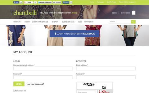 Screenshot of Login Page chambeili.com - My Account - captured Sept. 30, 2014