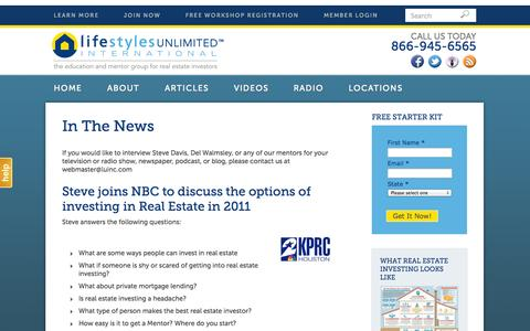 Screenshot of Press Page lifestylesunlimited.com - In The News - Lifestyles Unlimited - captured Sept. 23, 2014