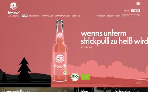Screenshot of Home Page fritz-kola.de - Start « Fritz-Kola - captured Feb. 11, 2016
