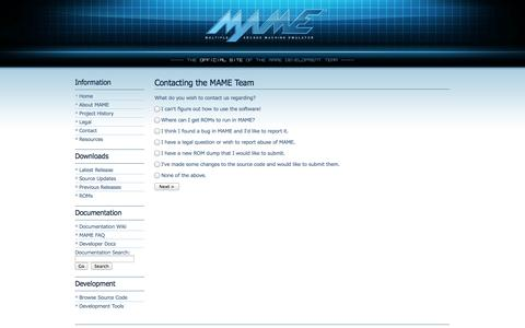 Screenshot of Contact Page mamedev.org - MAME | Contact the Team - captured Oct. 31, 2014